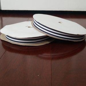 "5/8"" Navy/White Candy Stripe Poly Ribbon 50 yards"